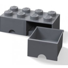Caja almacenaje dos cajones - Gris Oscuro
